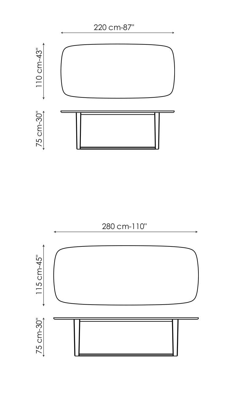 Tamaños distintos de la mesa de diseño fija