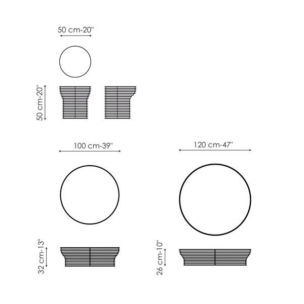 Diagrama mesa de centro Orion de Bonaldo