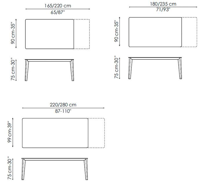Diagrama mesa extensible Match de Bonaldo