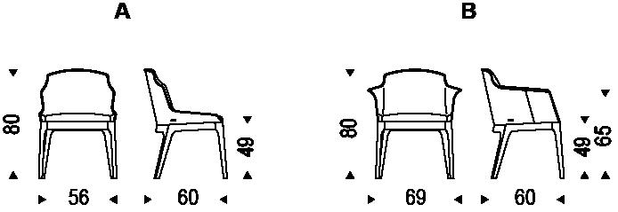Diagrama de las medidas de la silla Musa de Cattelan Italia