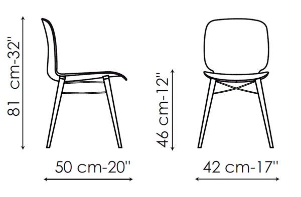 Diagrama silla de diseño Loto W de Bonaldo