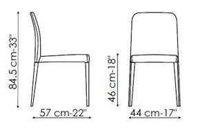 Diagrama silla de piel Deli de Bonaldo