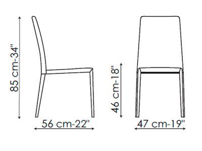 Diagrama silla de piel Eral de Bonaldo