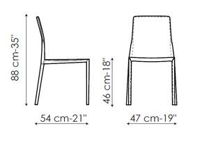 Diagrama silla de piel Lagoon de Bonaldo