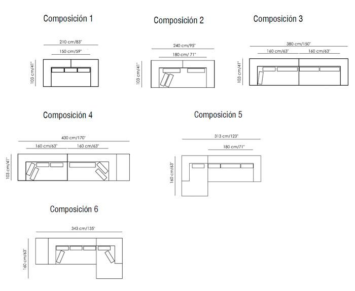Diagrama sofá Marc U de Bonaldo
