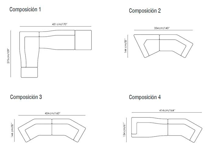 Diagrama sofá Melt de Bonaldo