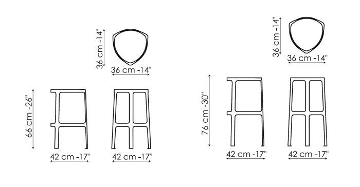Taburete alto clip de bonaldo muebles de dise o en for Medidas banco cocina