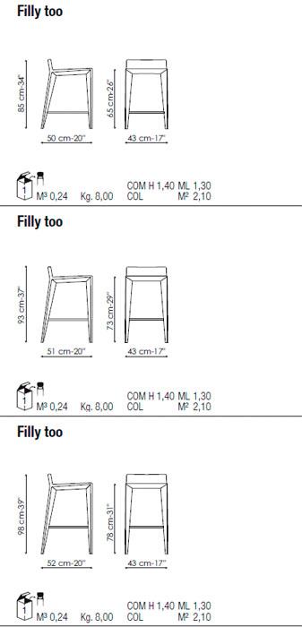 Diagrama taburete alto Filly Too de Bonaldo