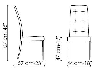 Diagrama de silla de piel Ivana de Bonaldo