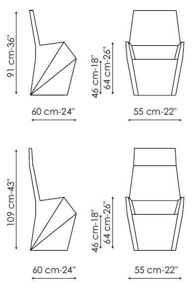 Diagrama de silla de piel Nadir de Bonaldo