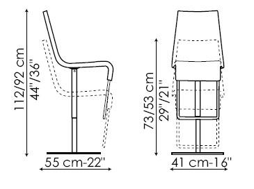 Diagrama de taburete Skipping en piel de Bonaldo