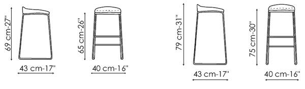 Diagrama de taburete Pilo ecopiel de Bonaldo