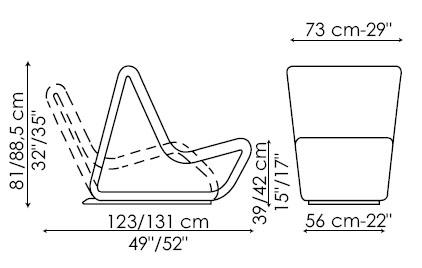 Diagrama de Line, butaca relax que se convierte en chaise longue de Bonaldo