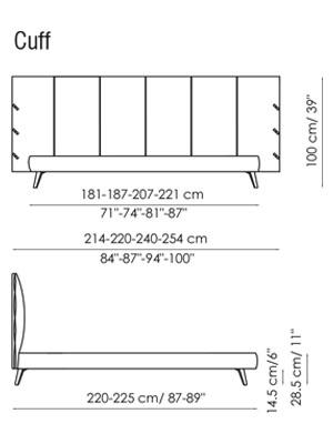 Diagrama de las medidas de la cama Puff de Bonaldo