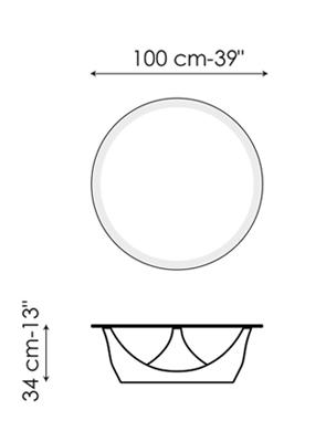 Diagrama y medidas de la mesa ARVO de BONALDO