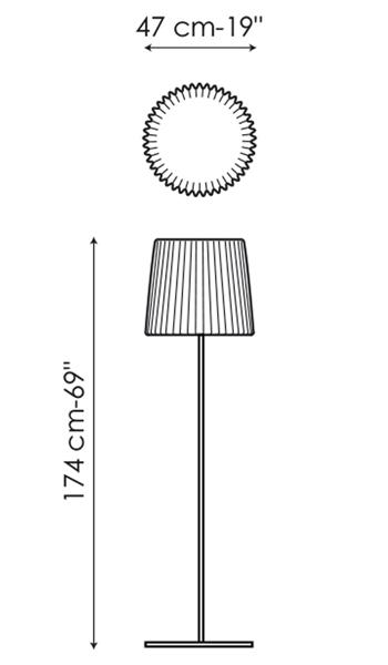 Diagrama con medidas de la lámpara MUFFIN de BONALDO