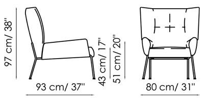 Diagrama de las medidas de la butaca Nikos de Bonaldo