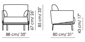 Diagrama con la única medida de la la butaca Structure Armchair de Bonaldo
