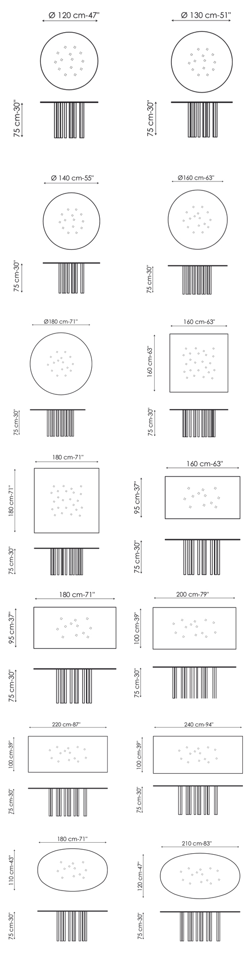 Diagrama con las 14 medidas de la mesa Mille de Bonaldo