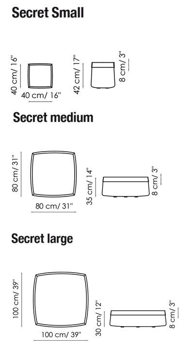 Diagrama con medidas del puff SECRET de BONALDO