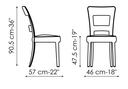 Diagrama con la única medida de la silla Sheryl de Bonaldo