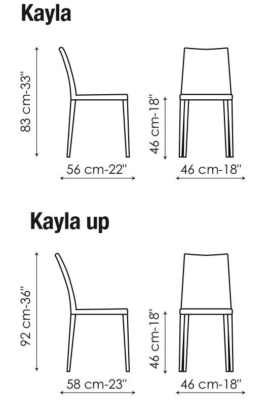 Diagrama con medidas de la silla Kayla y Kayla up de Bonaldo