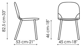 Diagrama con la única medida de la silla Napi de Bonaldo