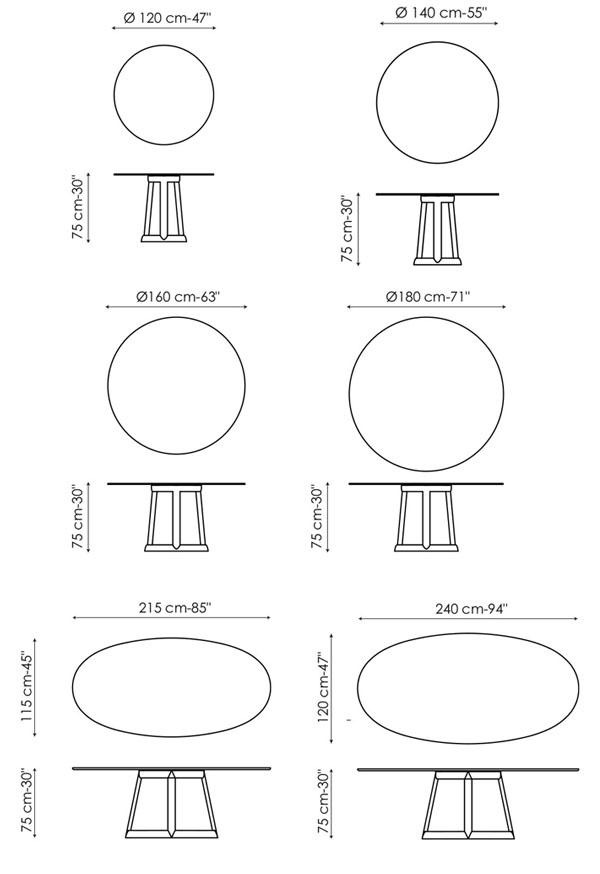 Diagrama y medidas de la mesa GREENY de BONALDO