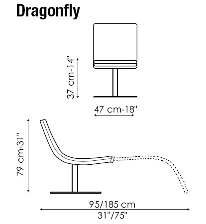 Diagrama de butaca - chaiselongue DragonFly en piel natural de Bonaldo