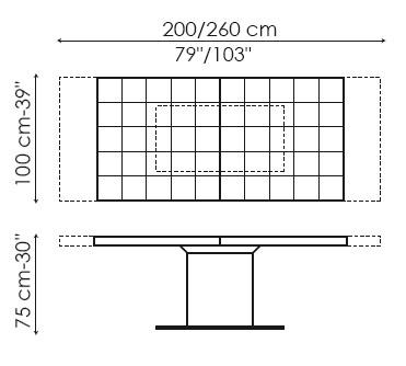Medidas Mesa extensible Lingotto de Bonaldo