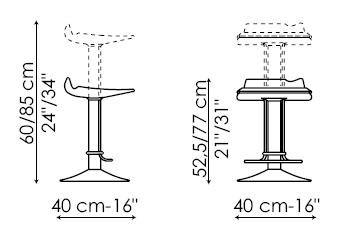 Diagrama de taburete giratorio Bask de Bonaldo