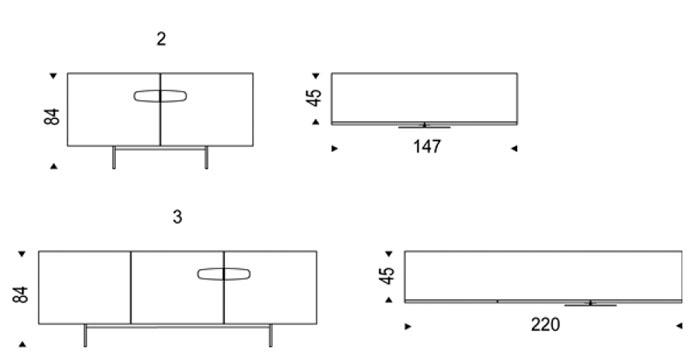Diagrama aparador Nebraska de Cattelan Italia