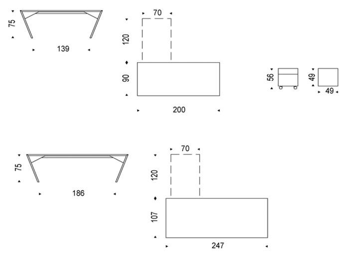 Diagrama escritorio Vega de Cattelan Italia