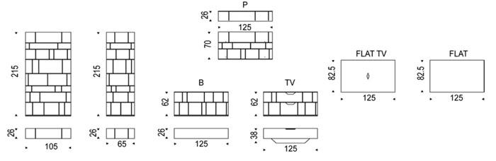Diagrama estantería Wally de Cattelan Italia