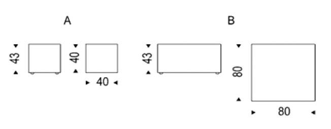 Diagrama mesa auxiliar Dadox de Cattelan Italia