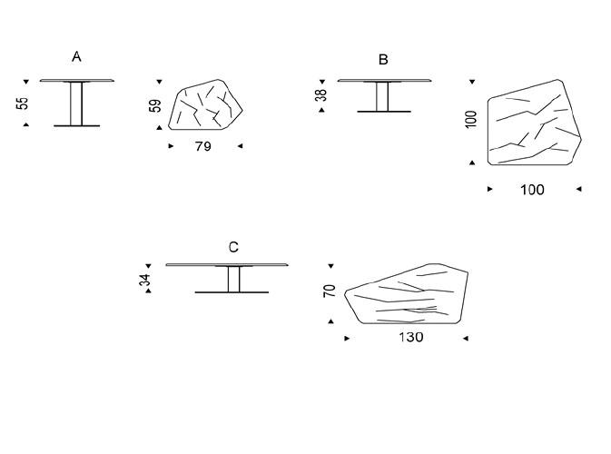 Diagrama mesa de centro Penta de Cattelan Italia