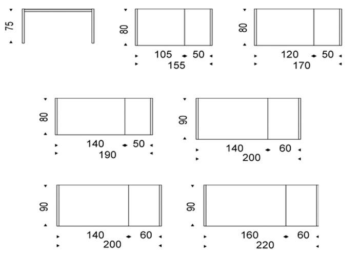 Diagrama mesa extensible Pedro Drive de Cattelan Italia