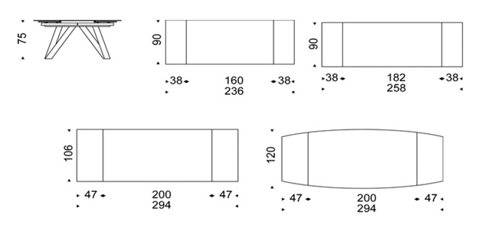 Diagrama mesa extensible Ray Drive de Cattelan Italia