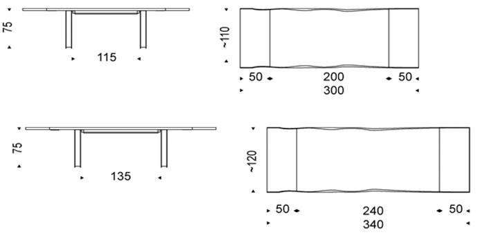 Diagrama mesa extensible Sigma Drive de Cattelan Italia
