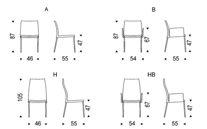 Diagrama silla Anna de Cattelan Italia
