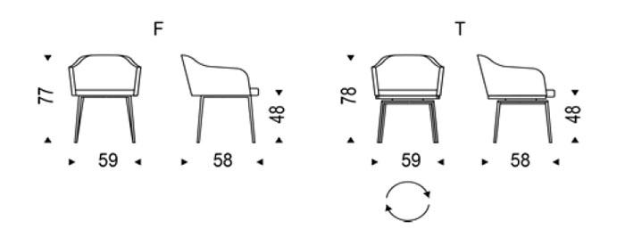 Diagrama silla Samantha de Cattelan Italia