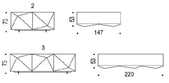 Diagrama del sobrio y distinguido Aparador Kayak de Cattelan Italia