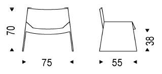 Diagrama de la seductora butaca de diseño Alaska de Cattelan Italia