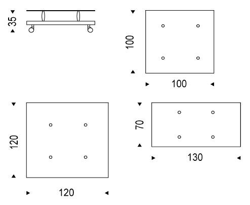 Diagrama de la mesa de centro con ruedas Parsifal de Cattelan Italia