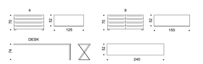 Diagrama escritorio de diseño Dyno Desk de Cattelan Italia