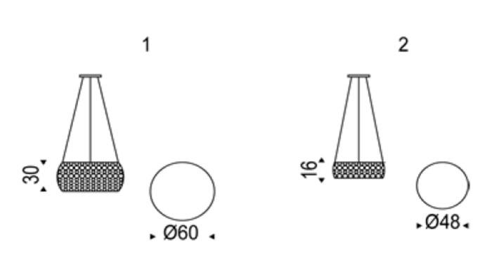 Diagrama lámpara de techo Kidal de Cattelan Italia