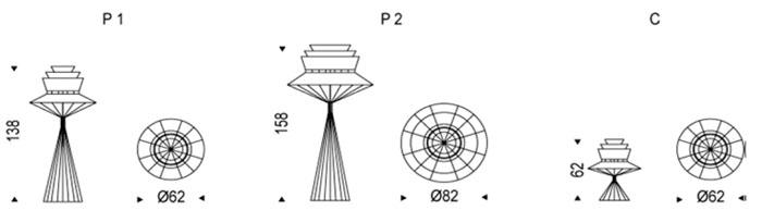 Diagrama lámpara de diseño Bolero de Cattelan Italia