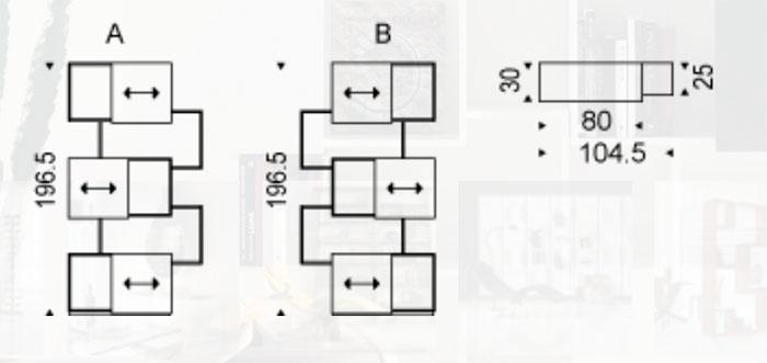 Diagrama librería de diseño Piquant de Cattelan Italia