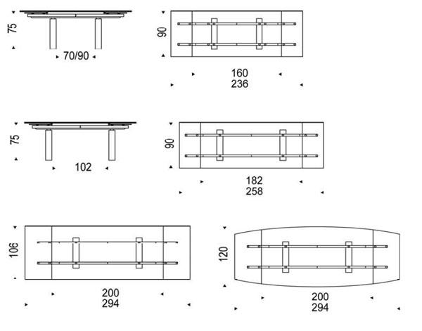 Mesa extensible targa de cattelan italia - Medidas de una mesa de comedor ...