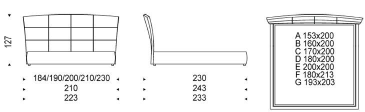 Medidas cama de lujo Marshall Cattelan Italia